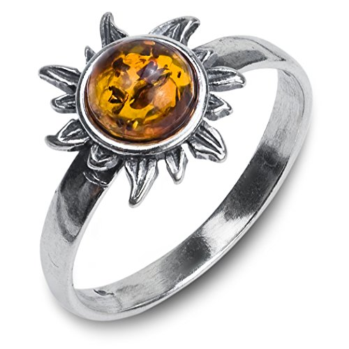 Honey Amber Sterling Silver Sun Ring, size 10