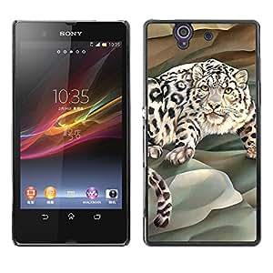 Tigre listo para saltar - Metal de aluminio y de plástico duro Caja del teléfono - Negro - Sony Xperia Z L36H