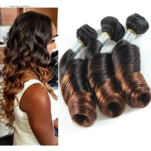 Wigsforyou@7A Ombre Peruvian Spring Curl Virgin Hair Two Tone Hair Bundles Ombre Peruvian Spiral Curly Virgin Hair Ombre Hair Extension 1B-4 10inch