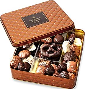 Chocolate Gift Basket , Gourmet Snack Food Box in Keepsake Tin, Great for Birthday, Sympathy, Family Parties & Get Well - Bonnie & Pop