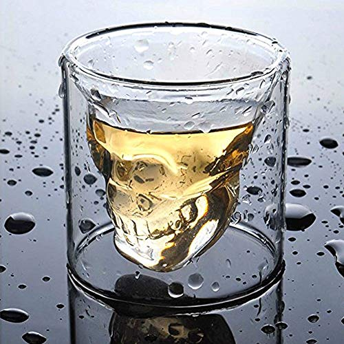 LUCKSTAR Crystal Skull Shotglass - Double Wall Transparent Skull Shot Glass Skull Pirate Shot Glass Drink Cocktail Beer Wine Cup Drinking Ware Mugs Halloween Mug For Whiskey Wine Vodka (Set of 2) ()