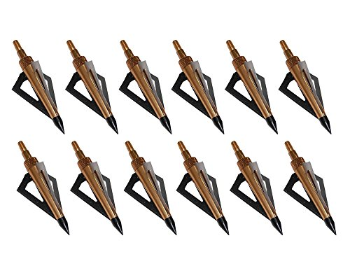 Huntingdoor-12Pack-3-Fixed-Blade-Archery-Broadheads-125-Grain-Arrow-Head-Hunting-Arrow-Tips-Golden-for-Compound-Bow-and-Crossbow