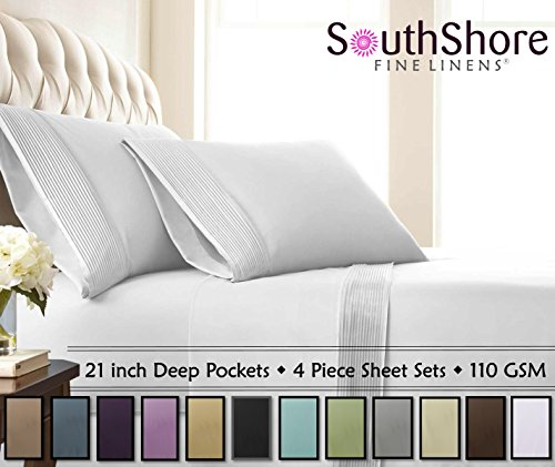 Southshore Fine Linens - 4 Piece - Extra Deep Pocket Pleated Sheet Set , QUEEN , BRIGHT WHITE - Extra Fine Linen
