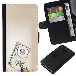 JackGot ( Psicodélico de la cinta del arco iris ) Samsung Galaxy Core Prime la tarjeta de Crédito Slots PU Funda de cuero Monedero caso cubierta de piel