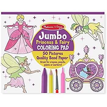Amazon.com: Melissa & Doug Princess & Fairy Jumbo Coloring Pad ...
