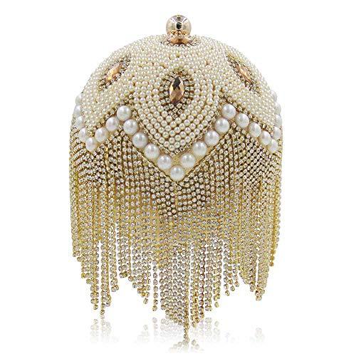Perla Donna Gold Di Di Da Ricamo Tondo Forma Sera Alta A Fascia Da Gold Borsa Nappa Diamante E Con Pochette Di Lusso 1pS5YwYq
