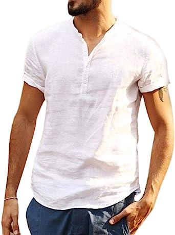 Camisa Hombre Cuello Mao Lino Blusa Manga Corta Camisas Top Suelta Camisas De Trabajo Suave Transpirable: Amazon.es: Ropa y accesorios