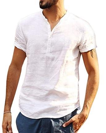 Camisa Hombre Cuello Mao Lino Blusa Manga Corta Camisas Top Suelta ...