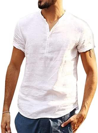Camisa Hombre Cuello Mao Lino Blusa Manga Corta Camisas Top Suelta Camisas De Trabajo Suave Transpirable