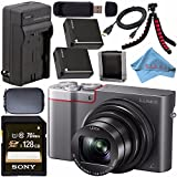 Panasonic Lumix DMC-ZS100 Digital Camera (Silver) DMCZS100S + DMW-BLG10 Lithium Ion Battery + External Rapid Charger + Sony 128GB SDXC Card + Small Case + Flexible Tripod Bundle