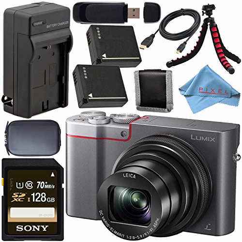 (Panasonic Lumix DMC-ZS100 Digital Camera (Silver) DMCZS100S + DMW-BLG10 Lithium Ion Battery + External Rapid Charger + Sony 128GB SDXC Card + Small Case + Flexible Tripod Bundle)