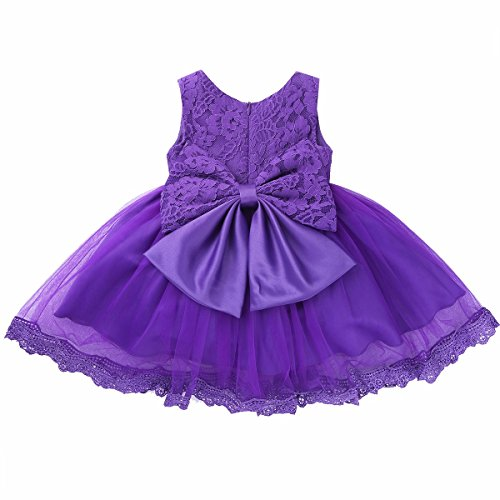 FEESHOW Baby Girl Bowknot Lace Flower Wedding Pageant Birthday Tutu Dress Baptism Christening Gown Size 18-24 Months Purple