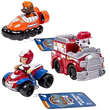 Amazon Com Paw Patrol Racers 3 Pack Vehicle Set Ryder Zuma