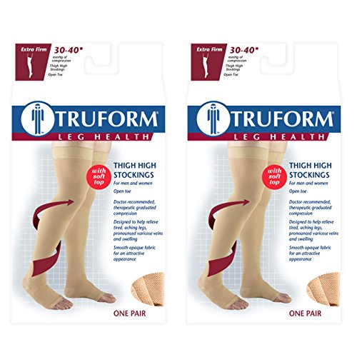 Truform Compression 30-40 mmHg Thigh High Open Toe Stockings Beige, X-Large, 2 Count