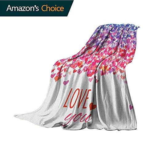 Cheap Love Weighted Blanket for Kids Hearts and Love You Message Romantic Valentines Day Inspired Springtime Cheerful Art Cozy and Durable Fabric-Machine Washable 50