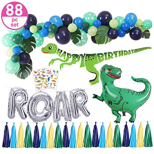 Dinosaur Party Supplies - 88pc Dinosaur Party Decorations Set for Kids Birthday - Balloon Garland Palm Leaves, 30