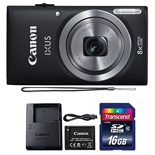 Canon IXUS 185 / ELPH 180 20MP Black Digital Camera + 16GB Memory Card ()