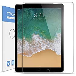 iPad Pro 12.9 inch Screen Protector Glass, Maxboost Tempered Glass Screen Protector for 12.9-inch iPad Pro 2017 (1-Pack) [Case Friendly] Apple Pencil Compatible 0.3mm 2.5D Rounded Edge Anti-Scratch