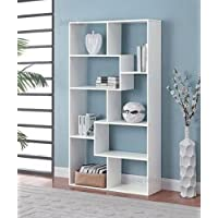 SP Product White Bookshelf 8 Shelves Storage Wall Furniture