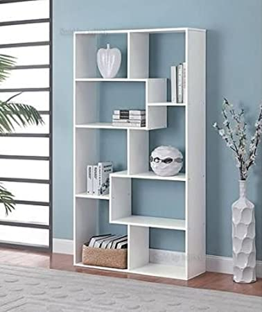 Amazon SP Product White Bookshelf 8 Shelves Storage Wall