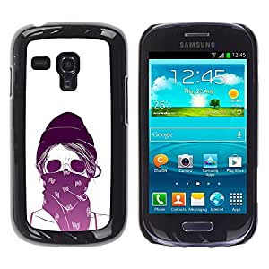 Shell-Star Arte & diseño plástico duro Fundas Cover Cubre Hard Case Cover para Samsung Galaxy S3 III MINI (NOT REGULAR!) / I8190 / I8190N ( Purple White Skull Scarf Protesting )