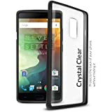 Orzly® FUSION Bumper Case Cover Shell for Oneplus 2 / OnePlus TWO - Protective Hard Cover with Impact Absorbing BLACK Rubber Rim and Clear Back Panel