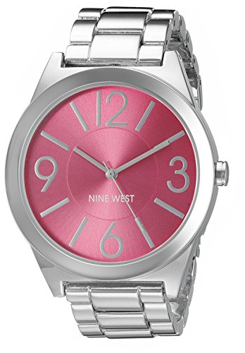 Nine West Womens NW1585PKSB Hot Pink Dial Silver-Tone Bracelet Watch