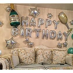 partywoo Globos de fiesta 40,6cm Feliz cumpleaños globo Foil Globo de helio Set 22pcs, Happy Brithday, Multicolor, 40.64 cm