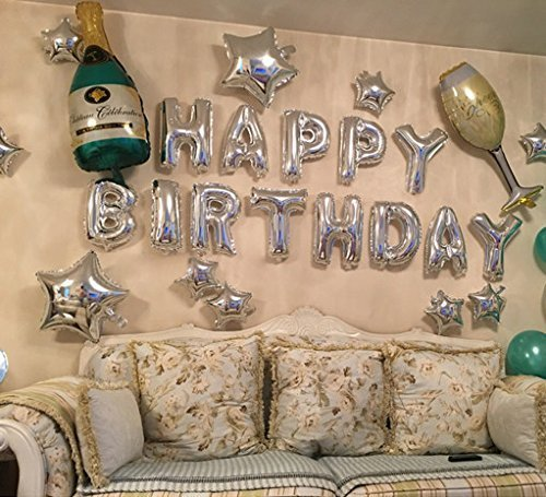 LAttLiv Happy Birthday Balloons 22Pcs Balloons Sets and Giant Champagne Bottle Wine Glass Heart Shaped Mylar Balloons