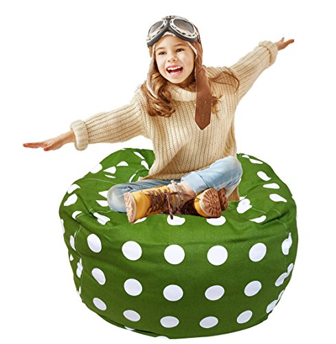Kids Bean Bag | Stuffed Animal Storage | Bean Bag Chair | Extra Large Stuffed Storage Bag | Plush Toy Organizer | Perfect Storage Solutions | Creative Solution for Kids Green and White Polka Dot 38