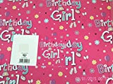 Birthday Girl Gift Wrapping Paper 2 Sheets + 1 Gift Tag