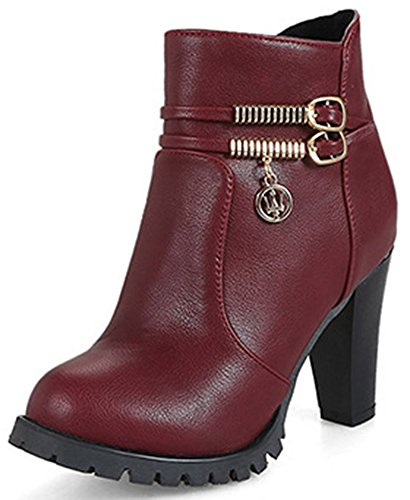 IDIFU Womens Sweet Zip Up Pointy Toe High Block Heeled Ankle High Martin Booties Wine Red 3PPvksK06