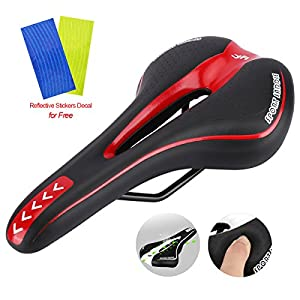 Bike Saddle Mountain Bike Seat Road MTB Gel Comfort Bicycle Seat with Soft Cushion,Bonus Bike Wheel Reflective Sticker