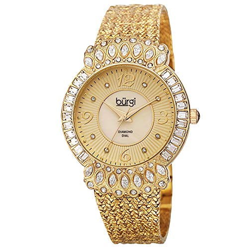 Burgi Diamond & Crystal Women's Watch - 8 Diamond Hour Markers On Mother-of-Pearl Dial Mesh Bracelet Watch - BUR120 from Burgi