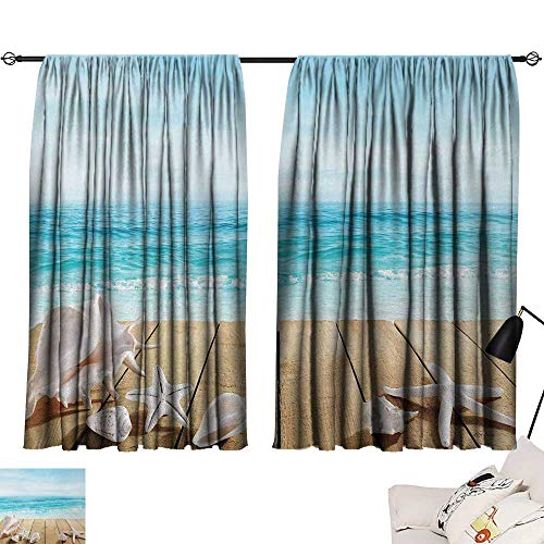 Jinguizi Seashells Curtain for Bathroom Wooden Boardwald with Seashells Sunshine Vacations Beach Theme Room Darkening Curtains Sand BrownLight Brown Beige W55 x L63