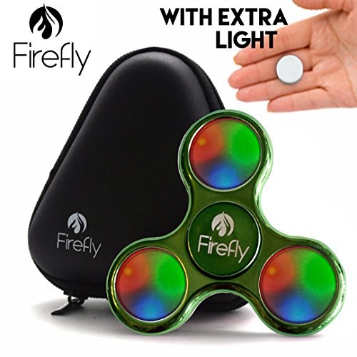 Helium K Firefly Lighted LED Fidget Spinner - with Custom Protective Carry Case Prime Light Up Spinning Fidget Toys for Kids & Adults - Relax from Stress & Anxiety (What's The Best Fidget Spinner Brand)