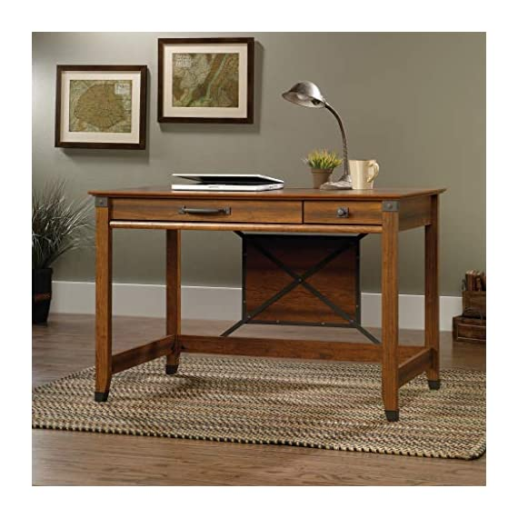 Sauder Carson Forge Writing Desk, Washington Cherry finish - Flip-down molding reveals slide-out shelf for keyboard/mouse or laptop Small drawer with metal runners and safety stops Finished on all sides for versatile placement - writing-desks, living-room-furniture, living-room - 51g6tgYB4KL. SS570  -