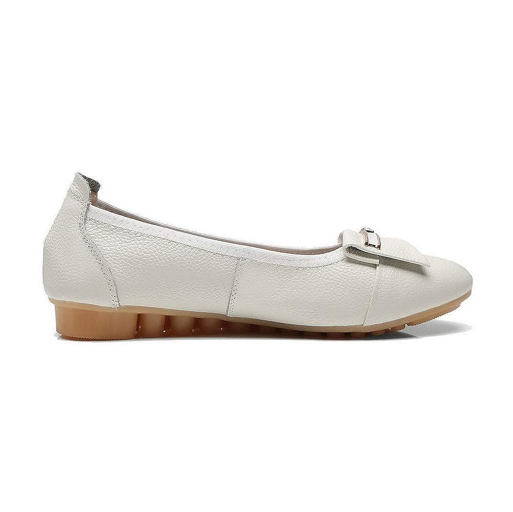 AgooLar Femme Rond à Talon Bas Tire Couleur Unie Chaussures Légeres, GMBDA015934 Beige