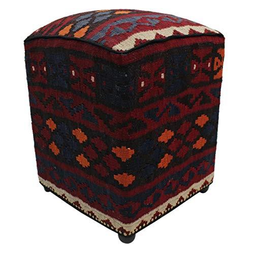 Arshs Fine Rugs Hulsey Drk. Red/Blue Handmade Kilim Upholstered Ottoman 15