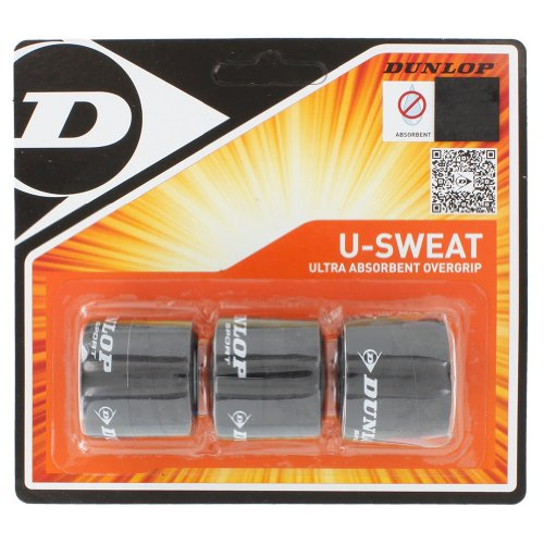 (Dunlop U-Sweat (3-Pack) Overgrip (Black) )
