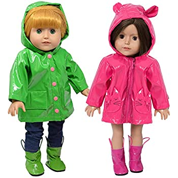 /& Umbrella made for 18 inch American Girl Doll Clothes Boots Red Rain Coat