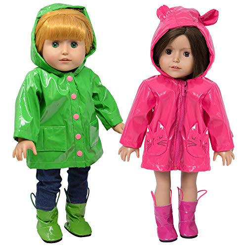18 Inch Doll Clothes Raincoat and Doll Boots - Set of 2 Doll Clothing fits American Girl - Inch 18 Doll Set Coat