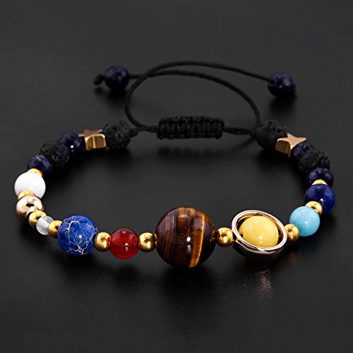 YEYULIN Handmade Galaxy Solar System Bracelet Universe Eight Planets Star Natural Stone Beads Bracelets Bangles by YEYULIN (Image #2)
