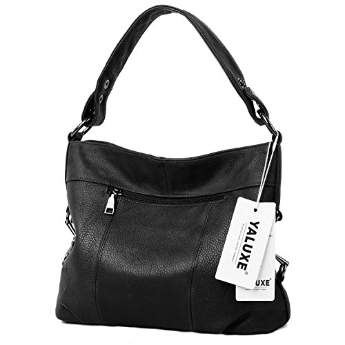 for Women's Bags Bag Shoulder Real Top Stylish Tote Black YALUXE Leather Handle Women vq1adwa
