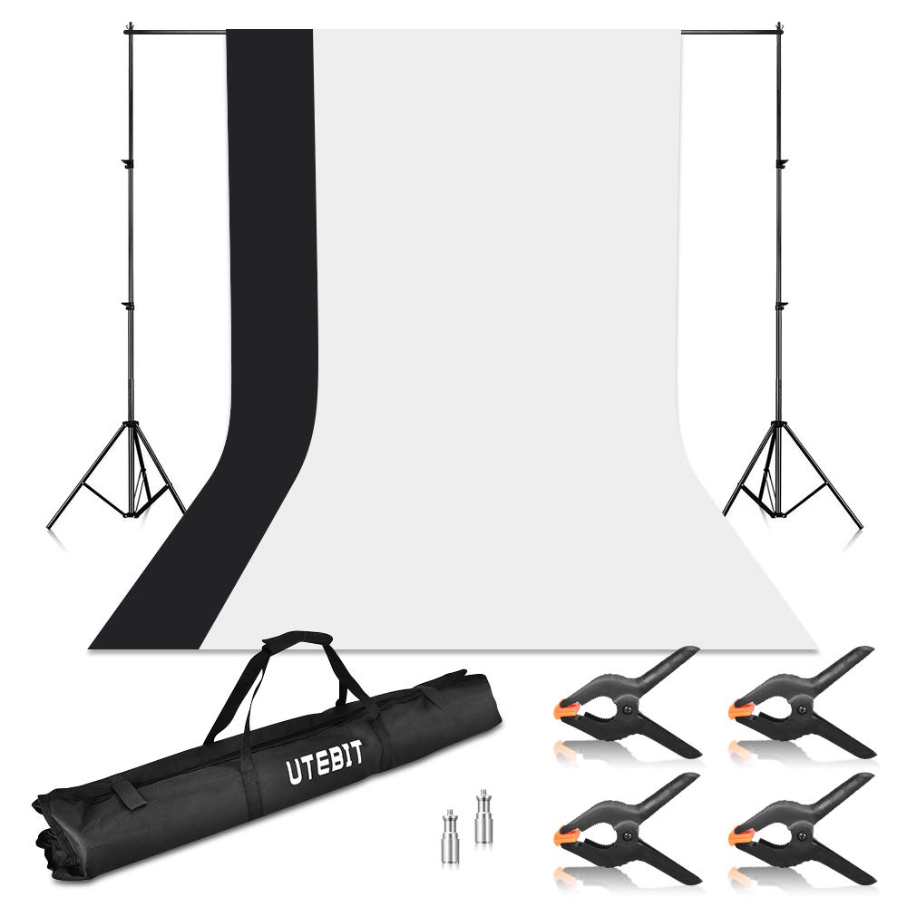 UTEBIT 6.5x9ft Backdrop Stand Kit Background Support Heavy Duty with 1.8x2.8m Black White Backdrops Photo Booth Screen 100% Pure Polyester 4 Pack Clips with 2 M10 Screw Adapters Oxford Carrying Bag by UTEBIT