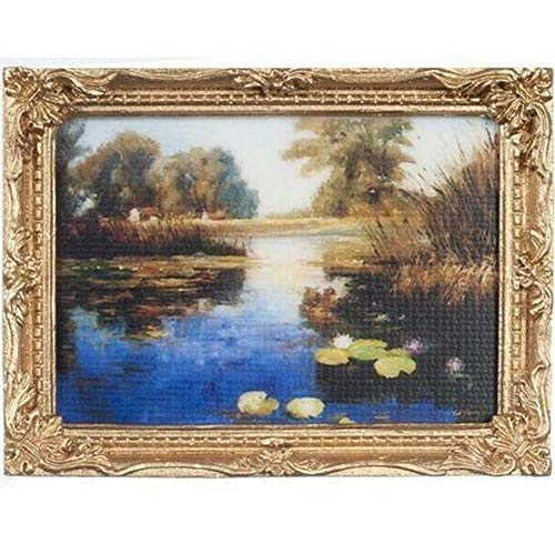 (DOLLHOUSE Framed Picture of Lily Pond on a Bright Day Miniature #1)