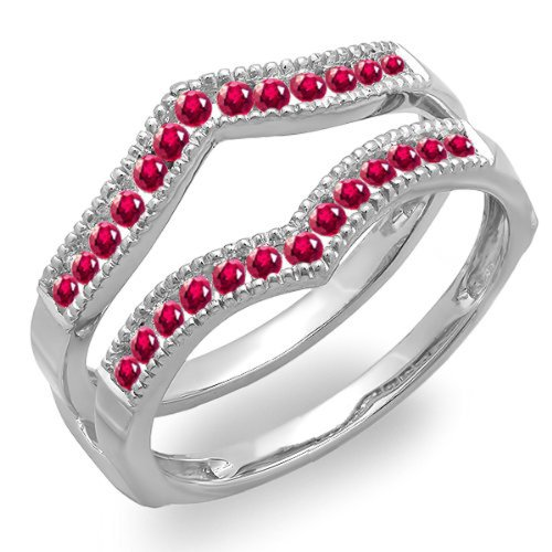 Dazzlingrock Collection 0.45 Carat (ctw) 18K White Gold Round Ruby Ladies Millgrain Wedding Guard Double Ring 1/2 CT (Size 9) -