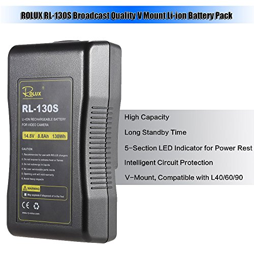 Andoer-ROLUX-RL-130S-Broadcast-Quality-V-Mount-Li-ion-Battery-Pack-144V-130Wh-Rechargeable-Battery-for-Professional-Video-Camera