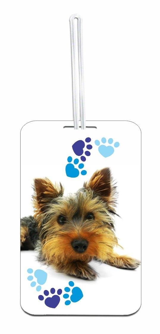 Yorkie Dog & Pawprints Luggage Identifier Tag with Custom Back