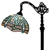 "Tiffany Style Reading Floor Lamp Sea Blue Dragonfly Table Desk Lighting H64"" E26"